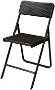 Brown Folding Chair - Textured Plastic on Powder Coated Steel Frame - Ideal for parties, events, patios - Outdoor and Indoor Use