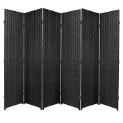 Black Folding Raffia Weave Wicker Privacy Panels / Room Dividers