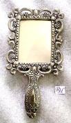 Rastogi Handicrafts German silver tone purse Mirror Hand Mirrors Lovely antique Actress Mack-up kit