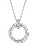 DIAMORE Women Necklace Circle 925 Sterling Silver Diamond White 0.05ct