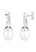 DIAMORE Women Earrings Pearl Dangle & Drop 925 Sterling Silver Diamond White 0.06ct 309352413