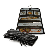 Pocket Travel Jewellery Roll and Handy Storage Case Jewellery Organiser with Hook pounr A kixool