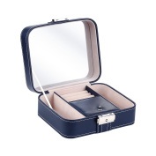 B.Catcher Jewellery Box Faux Leather Organiser Lockable Makeup Rings Earrings Necklace Display Storage Case with Mirror