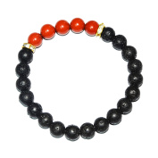 Aatm Reiki Lava With Red Jasper Beaded Gemstone Bracelet