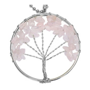 BodyJ4You Tree of Life Necklace Pink Chalcedony Natural Stones Pendant Crystaltone