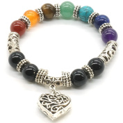 10 MM Beads Yoga Balancing Reiki Healing Bracelet 7 Chakra Antique Silver Colour Hollow heart Bracelet