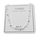 NANHONG Dainty Jewellery Mini Beaded Charm Bracelet in 925 Silver Hand Catenary