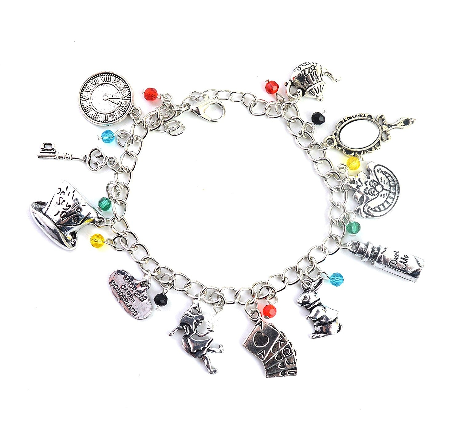 Alice In Wonderland Charm Bracelet Jewellery For Girls With Gift Box