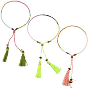 KELITCH 3pcs Seed Beaded Rope String Charm Bracelet with Tassel Pendant - Green Two-Tone/Pink