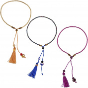 KELITCH 3pcs Seed Beaded Rope String Charm Bracelet with Tassel Pendant - Brown/Purple/Blue
