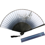 KAKOO Silk Folding Fan Chinese Style Plum Blossom Pattern Design Bamboo Hand Held Fans for Dancing Wedding Party Props Home Office Wall Decoration