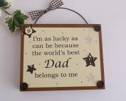 World's Best Dad/ Fathers day/ Birthday Wooden Keepsake Gift Plaque Brown