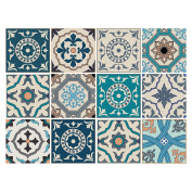 Decorative Sticker Tiles with Motifs and Ornaments for Walls and Tiles 12 Piece Set | Satin Matte Finish | 15 x 15 cm