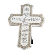 Lighthouse Christian Products Faith Hope Love Wall/Desktop Cross, 21cm x 27cm