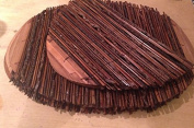 Placemats - Set of 6 Mixed Bamboo Place Mats - Oval