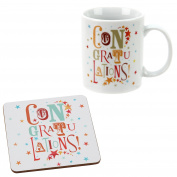 Congratulations ! Funky Gift Set Mug and Cork coaster