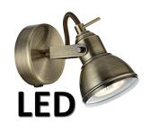 Hampton-1WBAB-LED Antique Brass Finish LED Spotlight Wall Light - Warm White