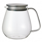 Kinto Stainless Unitea One Touch Teapot 720 ml. Heat-resistant glass teapot with stainless steel strainer and lid.