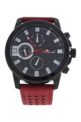 Antoneli Ag0064-01 Black/red Leather Strap Watch Watch For Men 1 Pc