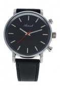 Antoneli Ag6182-01 Silver/black Leather Strap Watch Watch For Unisex 1 Pc