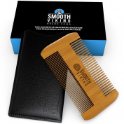 Beard & Moustache Comb - Facial Hair Grooming Tool for Men - Made With Fine Tooth Sandalwood for Easy Styling & Maintenance - Dual Action Design + Pocket & Wallet Size for Travel - Smooth Viking