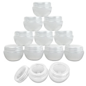 Beauticom 12 Pieces of Frosted White 30G/30ML Container Jars with Inner Liner for Pills, Medication, Ointments and Other Beauty and Health Aids - BPA Free
