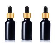 Grand Parfums Upscale 30ml Boston Round Dropper Bottle, Matte Black Glass with Gold Aluminium Hood and Black Bulb Dropper for Essential Oil, Medicines, Serum, Beard Oils