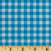 Oilcloth Gingham Sky Blue Fabric By The Yard