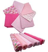 "levylisa 19.7"" x 19.7"" 7pcs Pink Printing Floral Dot Stripe Cotton Fabric Fat Quarter Bundle patchwork Quilting Fabric Sets Sewing Fabric Patchwork Flower Dots DIY quilting Handmade Craft"