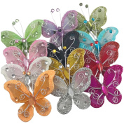 YAKA Organza Wire Butterfly Craft ( Rhinestones & Shining Effect) Table Scatter Wedding Birthday Party Decorations