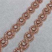 Crystal Rhinestone Appliques I Yard Beaded Embellishments Handcrafted Elegant Long Sewing Hot fix for DIY Wedding Gown Bridal Belts Sashes Prom Evening Dresses - Rose Gold