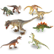 QuadPro 8 piece dinosaur toys, Kid party supplies Include Saurophaganax, Therizinosaurus, Velociraptor, Triceratops, T Rex Toy and More, jumbo plastic dinosaurs toddler STEM Toys for boys and girls