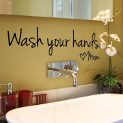 Vibola Wash Your Hands Mom Home Decor DIY Wall Sticker Decal Bedroom Vinyl Art Mural