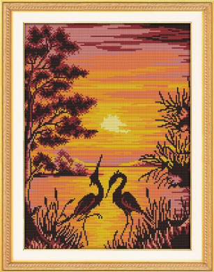 Happy Forever Cross Stitch Scenery, The crane shadow in sunset