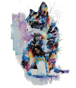 Cat and colours counted cross stitch kits, 220x299stitch 50x64cm counted cat cross stitch kits