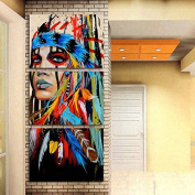 3 Piece Canvas Art American Indian Canvas Feathered Painting Wall Pictures for Living Room, Office and Home Wall Decor