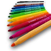 Stabilo Trio Jumbo - Childrens Coloured Fibre Tip Pens - Pack of 12