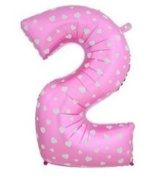 Balloon Valley Decor 100cm Mylar Number 2 Two Pink Party Decoration