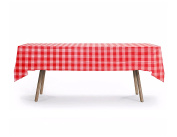 5 CT Rectangular Heavy Duty Table Cover, Ckecker Design, Premium Plastic Tablecloth, Plastic Table Cover Reusable