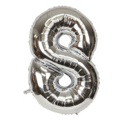 B-G 110cm Silver Number 8 Balloons Large Number Balloons Foil Balloons Great for Independence Day Bridal Shower Decorations Birthday Anniversary Wedding BA08S