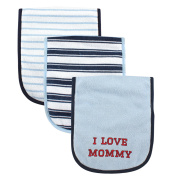 Luvable Friends 3 Piece Burp Cloth with Fibre Filling for Boys, I love Mommy