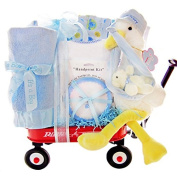 Stork Delivery Baby Boy Gift Set in a Miniature Radio Flyer Waggon