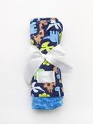 Baby Laundry Patterned Baby Blanket for Boys Girls - Dinosaur/Azure Bump Baby