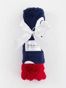 Baby Laundry Patterned Baby Blanket for Boys Girls - Navy Elephants/Crimson Tile Cuddle