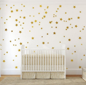 Gold Wall Decal Stars (123 Decals) | Easy to Peel Easy to Stick + Safe on Painted Walls | Removable Metallic Vinyl Star Decor |Star Sticker Large Paper Sheet Set for Nursery Room (
