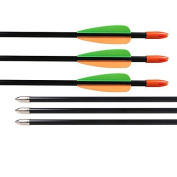 Huntingdoor 28 Inch Archery Fibreglass Arrows Youth Target Practise Arrows 7mm for Recuve Bow 12 Pack