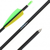 Huntingdoor Youth Carbon Arrows 80cm Fletching Archery Arrows with Pin Nock Bushing Spine 900 for Recurve Bow 12 Pack