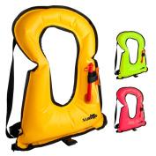 X-Lounger Inflatable Life Jacket Snorkel Vest for Snorkelling Swimming Water Sports Safety, Portable Snorkel Vest for Adults Youth