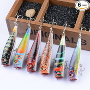 New 6pcs Lot Colourful Wobbler 9cm/14.3g Fishing Lures Popper Poper Bass Bait Fishing Tackle