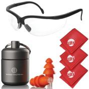 Titan Tactical Eyes + Ear Protection Kit w/ 29NRR Reusable Shooting Ear Plugs + Mil-Spec Clear Range Ballistic Glasses